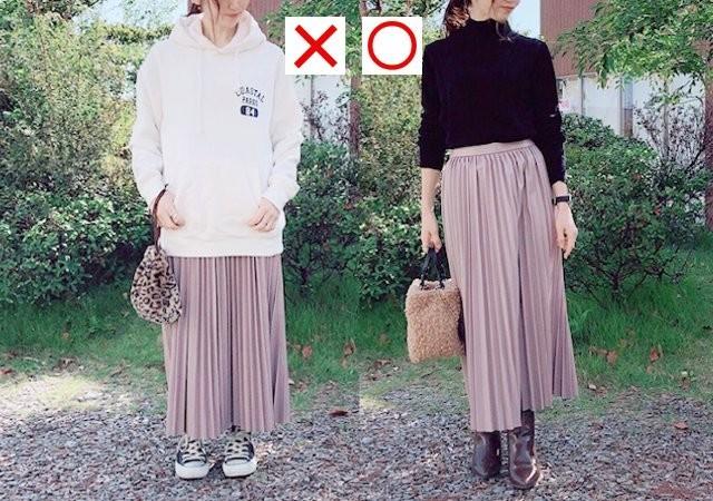 GU フェイクレザープリーツスカート くすみピンク NG・OKコーデ写真