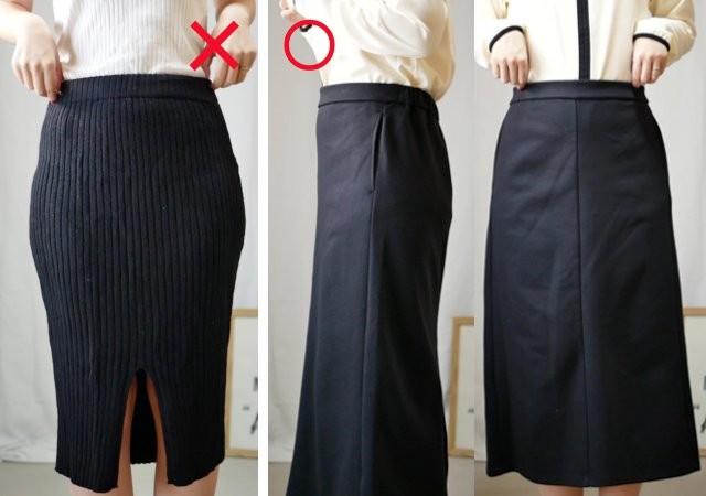 GU ダブルフェイスナロースカート 体型カバーコーデ画像