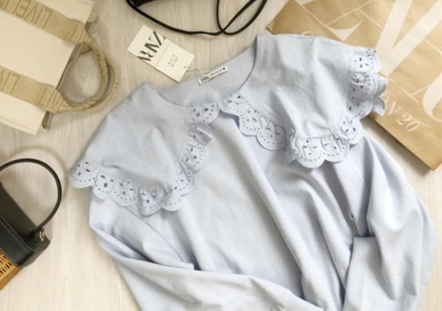ザラZARA エンブロイダリーカットワークスウェットシャツ ビッグカラー ブラウス 商品現物写真画像