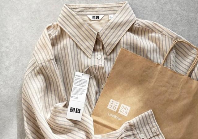 ユニクロ ストライプシャツ 紙袋 画像