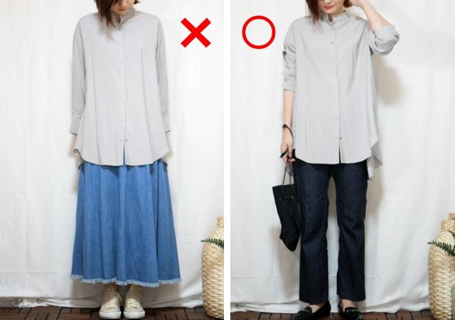 しまむら HKバンドシャツTU 商品現物着用写真画像 グレー