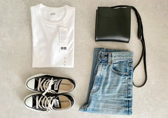 UNIQLOU クルーネックT 白Tシャツ デニム ショルダーバッグ コンバース