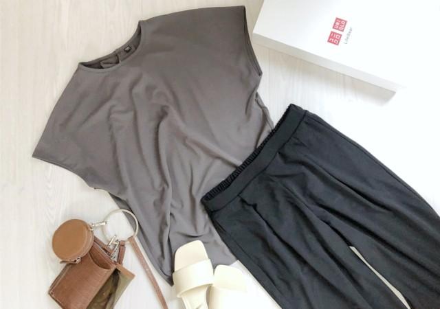 ユニクロ クレープジャージーフレンチスリーブTシャツ ストレートパンツ