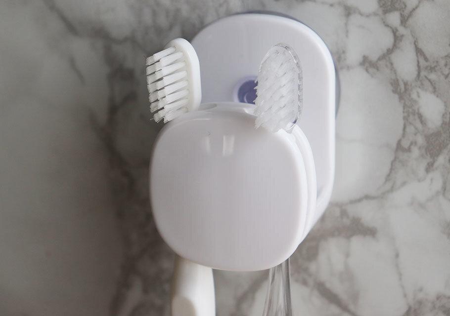 ダイソー 収納 吸盤付き歯ブラシ&コップホルダー 使用例 歯ブラシ