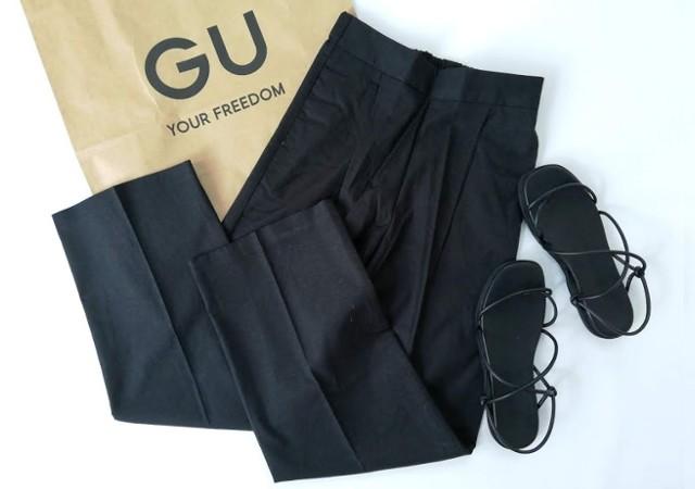 ジーユー GU リネンブレンドストレートパンツ 黒ブラック