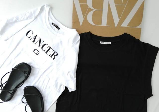 ZARA リブ編みTシャツ ザラ ホロスコープTシャツ 黒ブラック