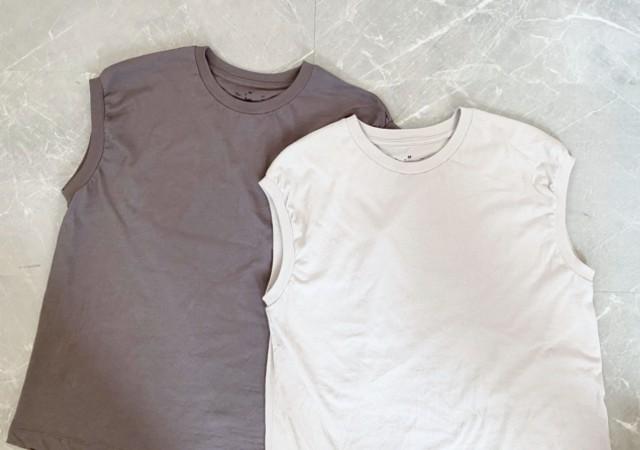 無印良品 MUJI インド綿天竺編みスリーブレスTシャツ