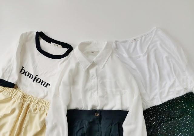 DHOLIC ディーホリック コットンルーズシャツ リネン混ラウンドTシャツ bonjour配色ラウンドネックTシャツ