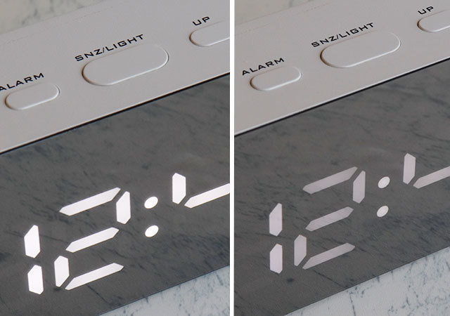 ダイソー 500円 明るさ調節 ミラーデジタル時計(長方形)
