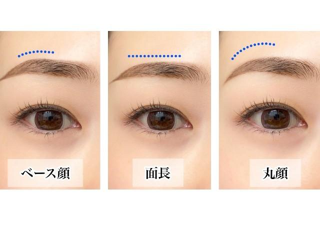 眉メイク 眉の描き方 丸顔 面長 ベース型