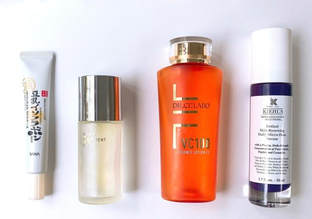 スキンケア 化粧水 美容液 くすみ 小じわ 感想 レチノール ビタミンC RMK オイル キールズ