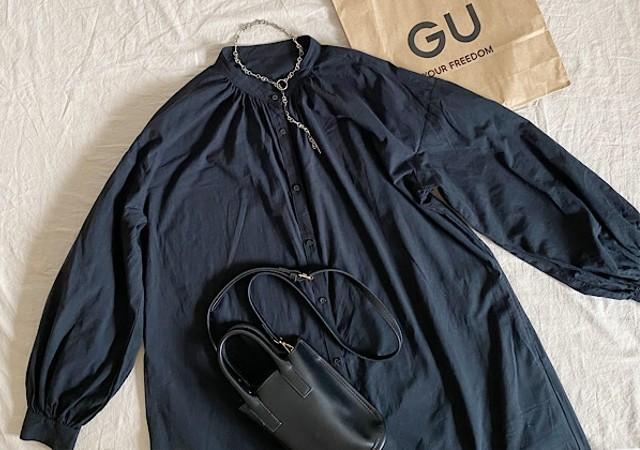 ジーユー GU バンドカラーギャザーワンピース(長袖)