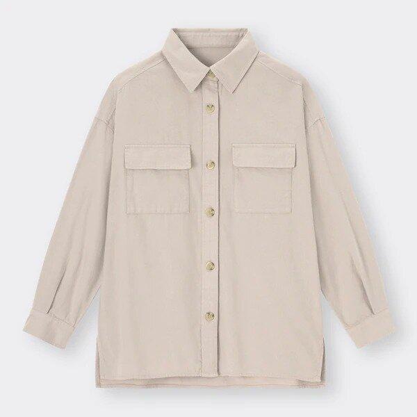 オーバーサイズシャツ GU 抜け感コーデ ナチコ イラスト フランネルオーバーサイズシャツ